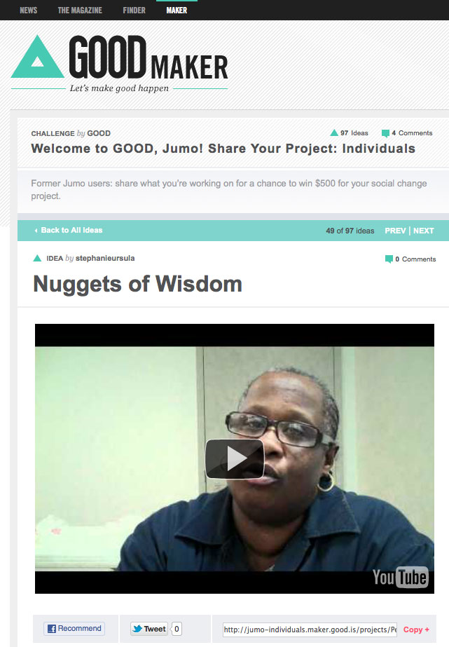 GOOD, Jumo Individuals Challenge: VOTE for Nuggets of Wisdom!